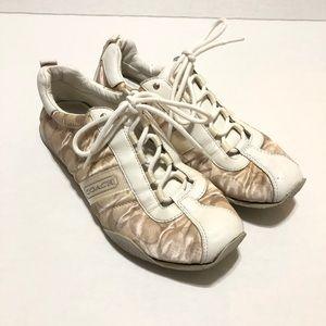 Coach Kelsie Cream Satin Sneakers—8